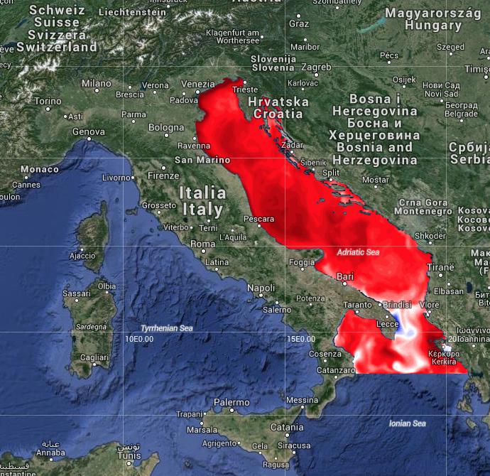 Anomalia di temperatura del Mar Adriatico (fonte INGV  - CMCC)