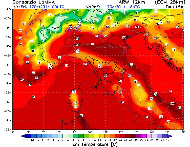Temperature previste al centro-nord venerdì 17/10, al pomeriggio (Fonte Lamma Toscana)