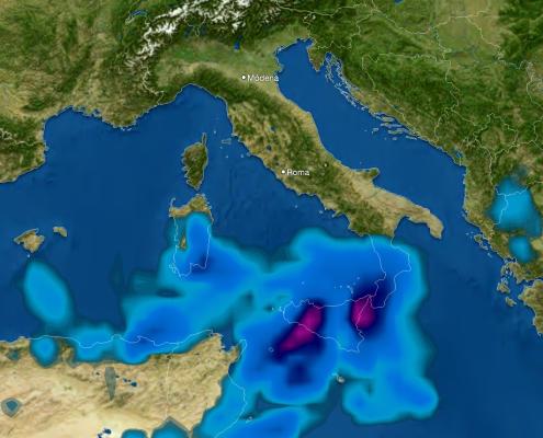 Mappa delle precipitazioni previste in italia mercoledì pomeriggio; bel tempo al nord, piogge anche torrenziali al sud (scala colorimetri indicativa, fucsia: piogge estreme)